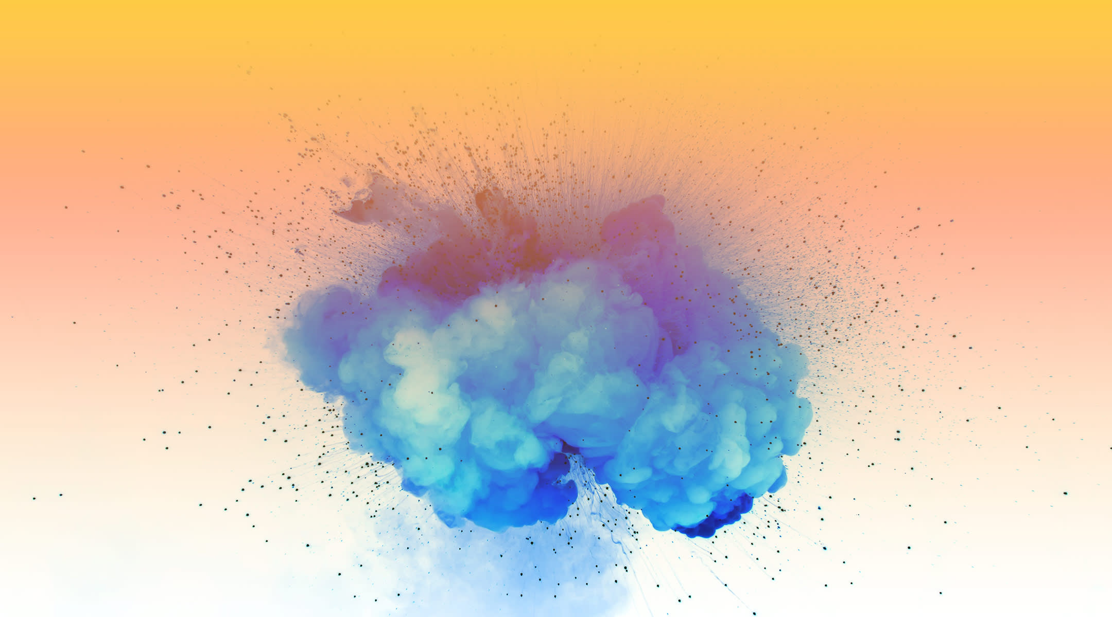 blue powder smoke with gradient overlay