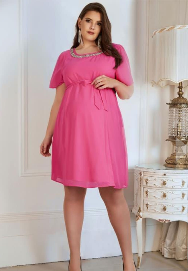526263e2a5b Yours Clothing pink plus size summer maternity dress