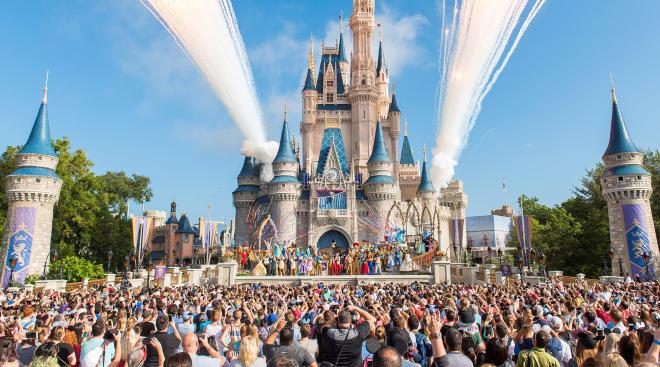 magic kingdom with fireworks at disney world