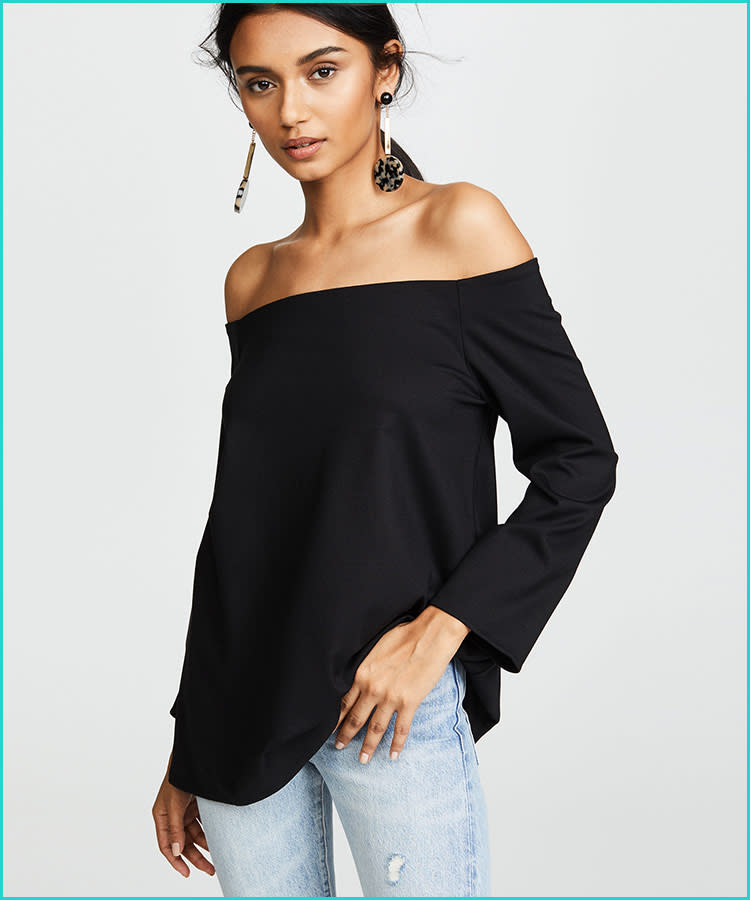 0d63a474774c trendy-maternity-clothes-hatch-off-shoulder-black-blouse