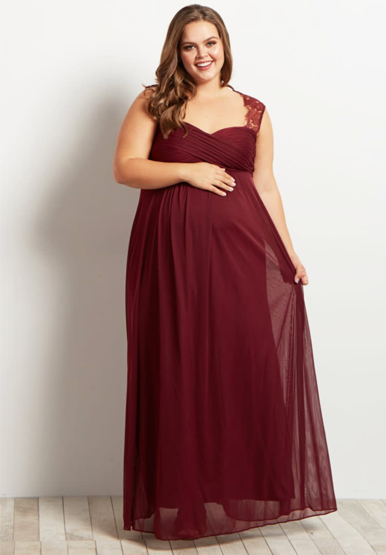 0c3357d7c53f4 PinkBlush Maternity burgundy plus size maternity bridesmaid dress