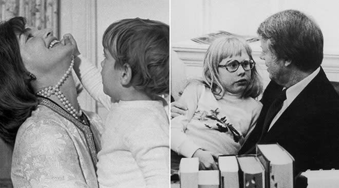 Jackie Kennedy with her young child and Jimmy Carter with his daughter