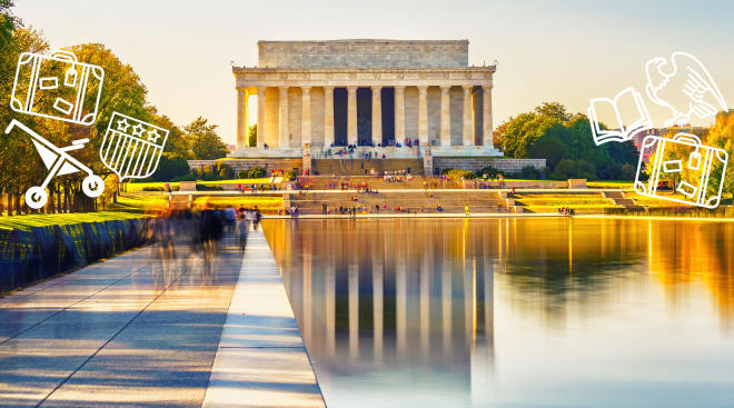 lincoln memorial in washington dc with illustration overlays