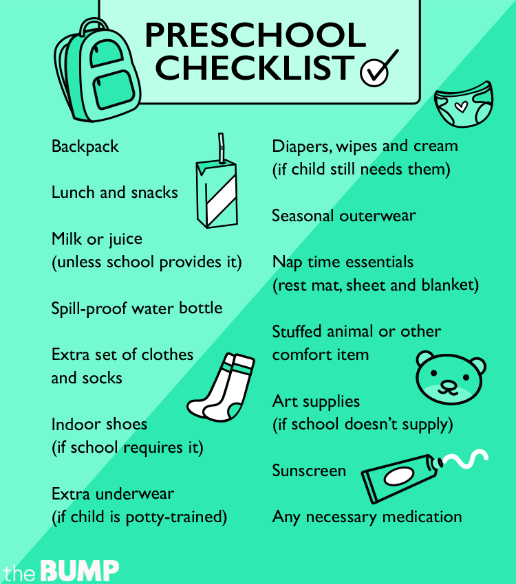 Checklist What To Pack For The First Day Of Preschool
