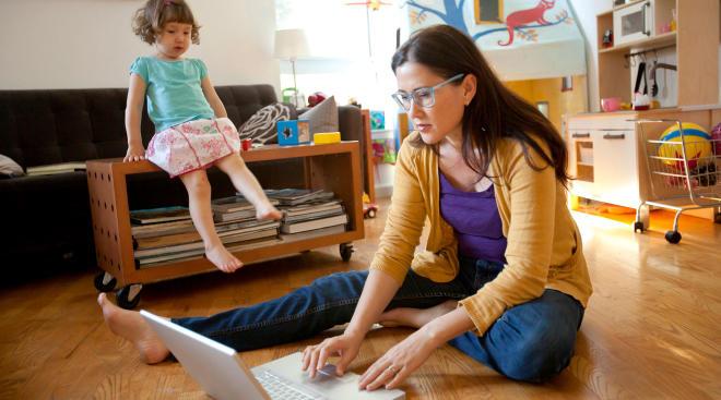 nanny ignoring toddler child at home