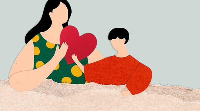 illustration of a mom and child holding a heart