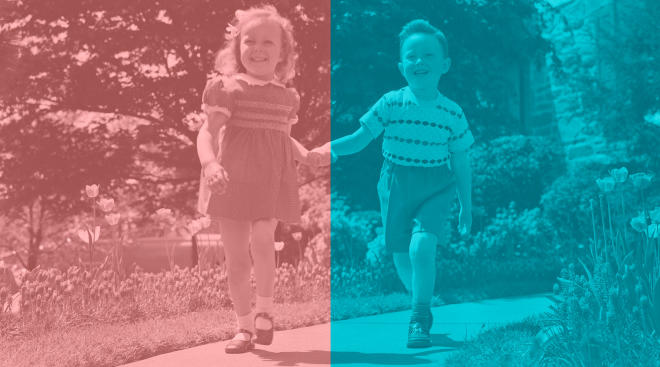 1950s retro image of a little girl and a boy with pink and blue overlays