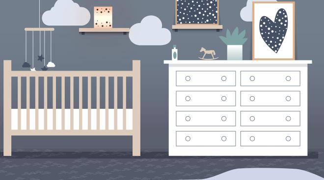 illustration of baby nursery with crib