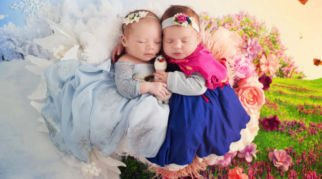 newborns dressed as frozen characters, anna and elsa.