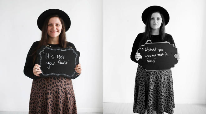 women hold signs with positive and negative messages surrounding their miscarriages