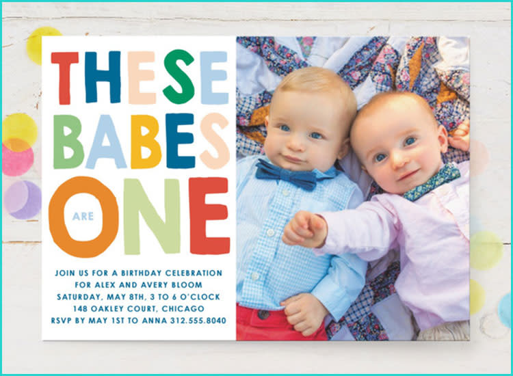 Minted Twin First Birthday Invitations