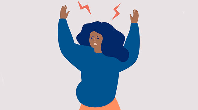 illustrated pregnant woman with her hands up in anger