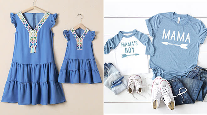 Matching mom and me t-shirt and blue dress