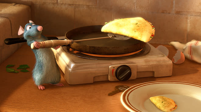 ratatouille character from pixar movie, cooking an omlete