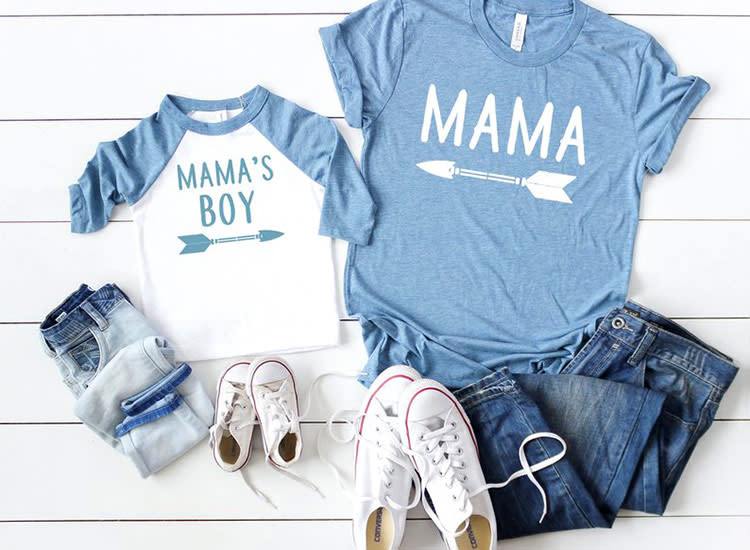 family T-shirt Girl mama and babe mama and mini tee mama matching onesie kids T-shirt valentines gift for mom mother son daughter