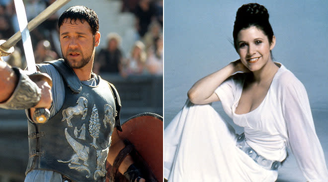 Maximus character from the movie The Gladiator and Princess Leia from Star Wars.
