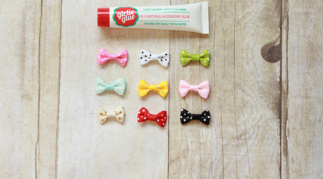 Girly glue bottle with colorful bows