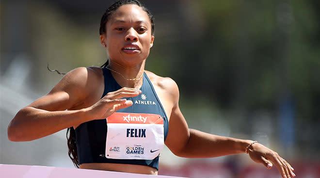 Track athlete Allyson Felix running a race.