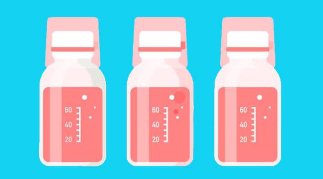 Illustration of medicine bottles containing liquid.