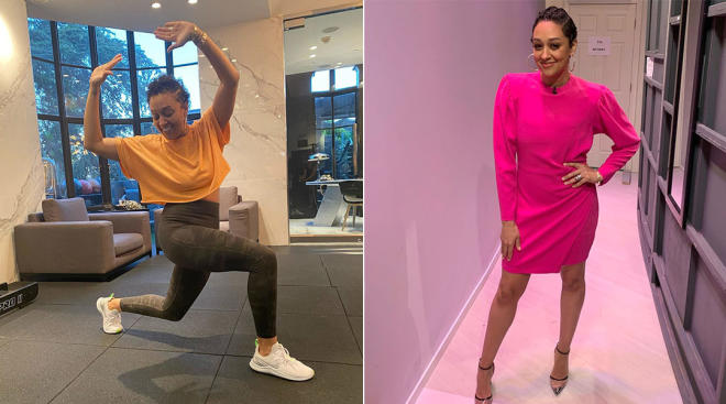 tia mowry posts on her instagram about working out and her postpartum body