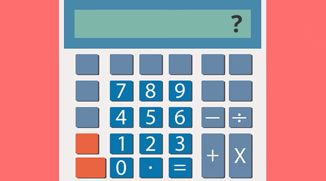 illustration of a calculator with question mark in the display