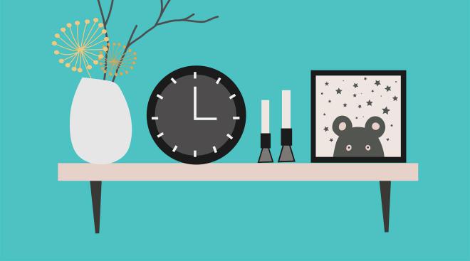 shelf in baby nursery with clock