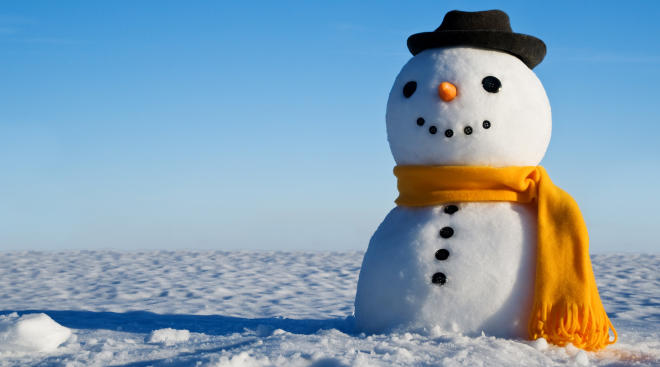 Snowman with winter backdrop.