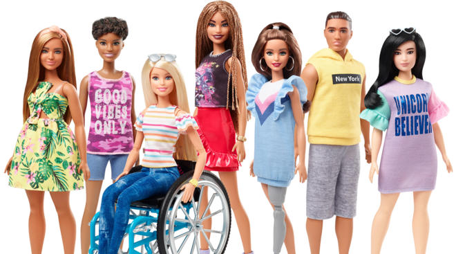 Mattel introduces new line of Barbie Fashionistas, featuring dolls that use a wheelchair and have a prosthetic leg.