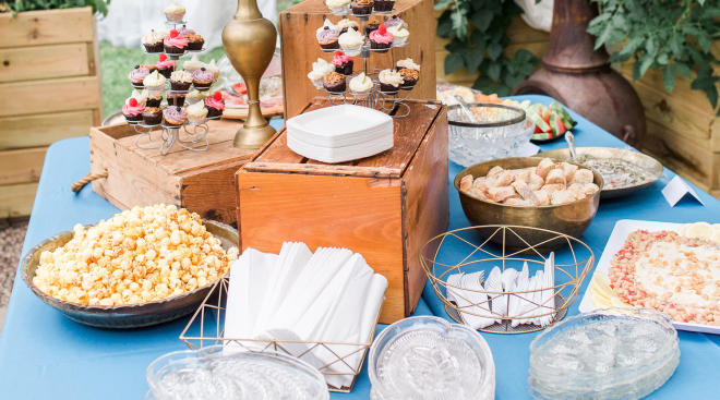 baby shower food spread, appetizers and desserts