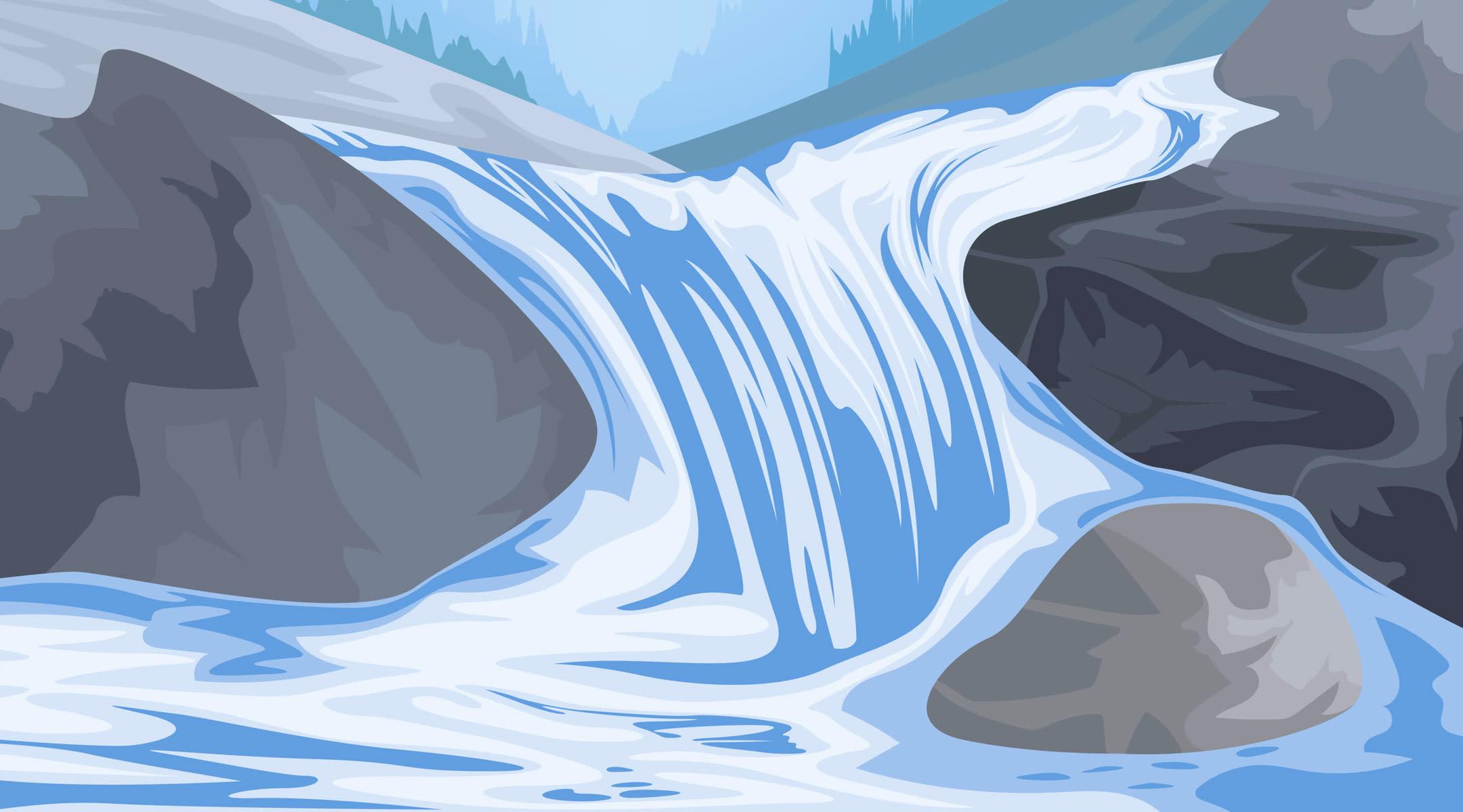 waterfall flowing through rocks