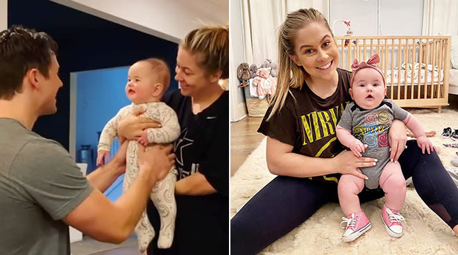 shawn johnson's baby reacts to her dad's new haircut