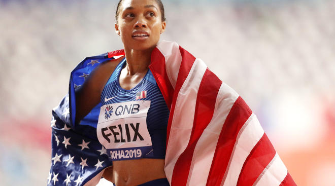 allyson felix breaks record after giving birth 10 months ago