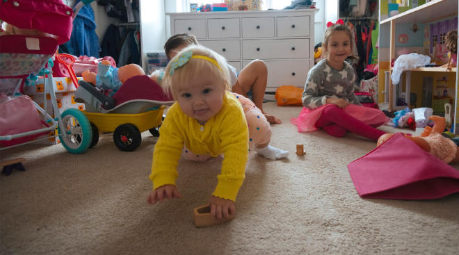 kids playing in messy house