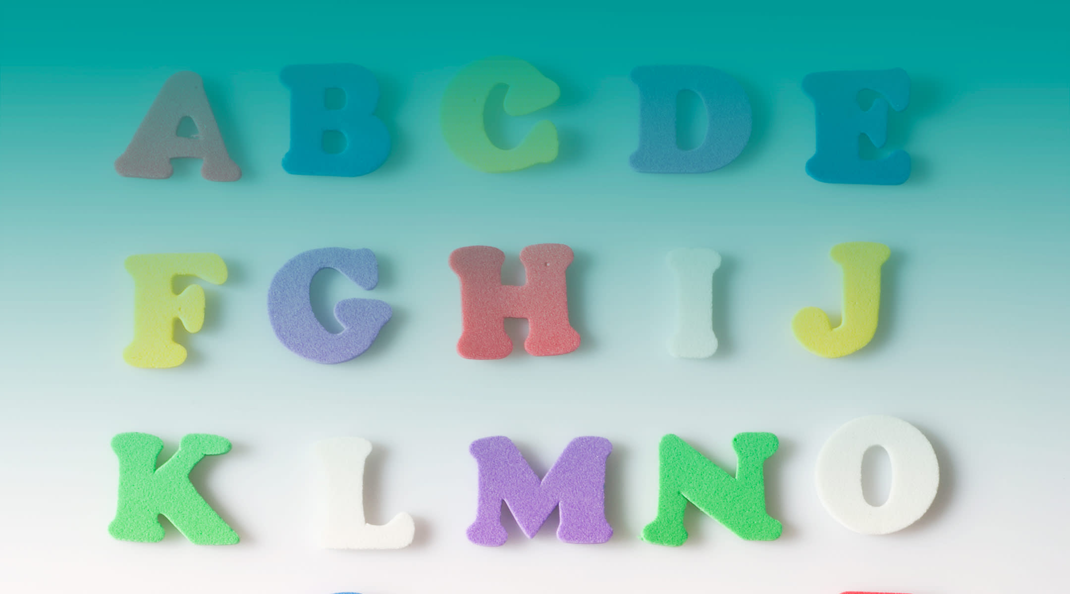 letters of the alphabet with teal gradient