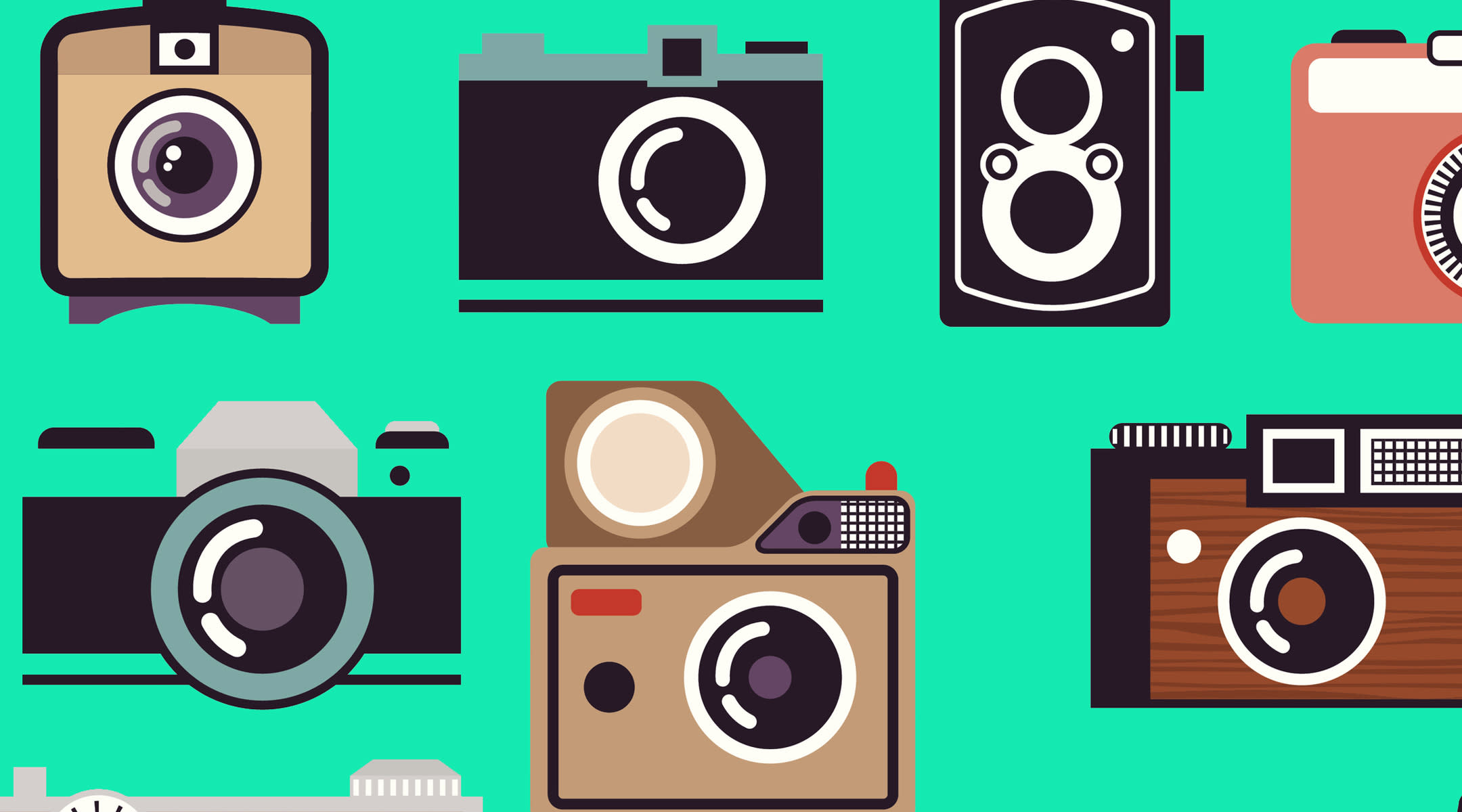 collection various vintage camera