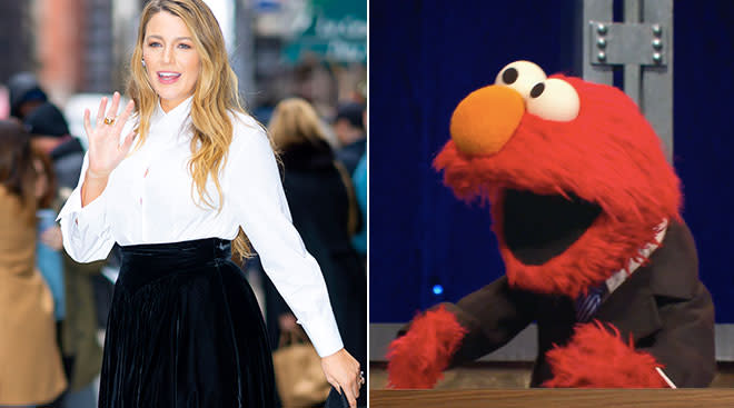 actress black lively in a side by side with elmo from sesame street