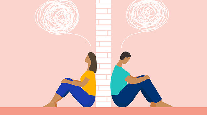 Illustration concept showing upset couple with brick wall in-between them.