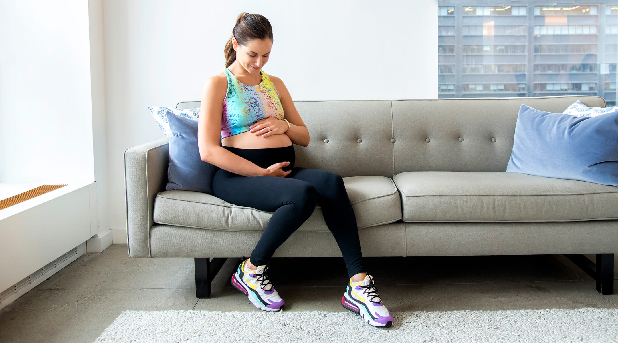 pregnant woman doing exercises to induce labor