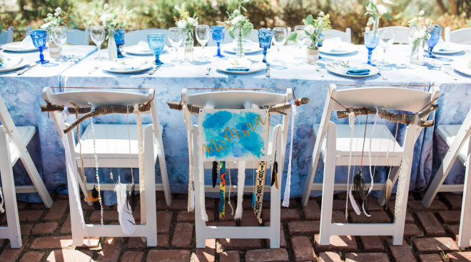 baby shower blue table setting