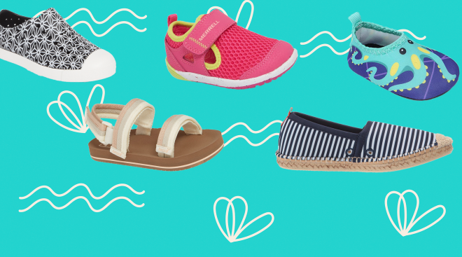 collage of baby and toddler water shoes on illustrated background