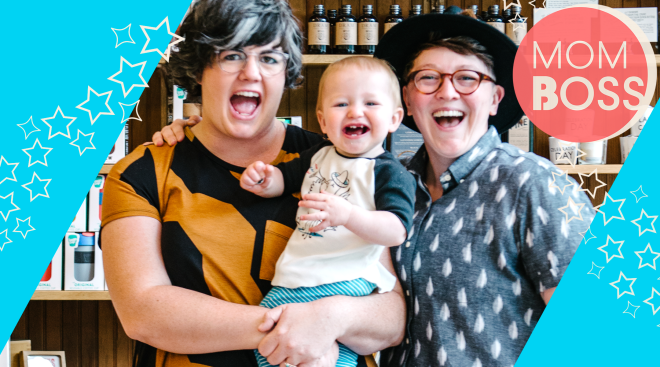 mom boss owners of ladyfingers letterpress pictured with their baby