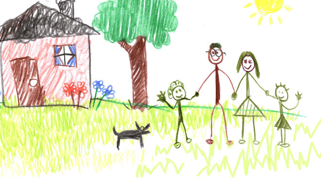 drawing of family holding hands
