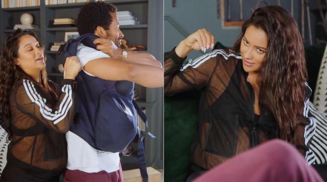 actress shay mitchell has her boyfriend wear pregnancy suit