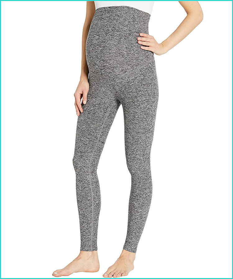 Woman Capri Print Worn Jean Denim Look Seamless Stretch Leggings