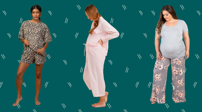 product collage of three models wearing maternity pajamas on pattern background
