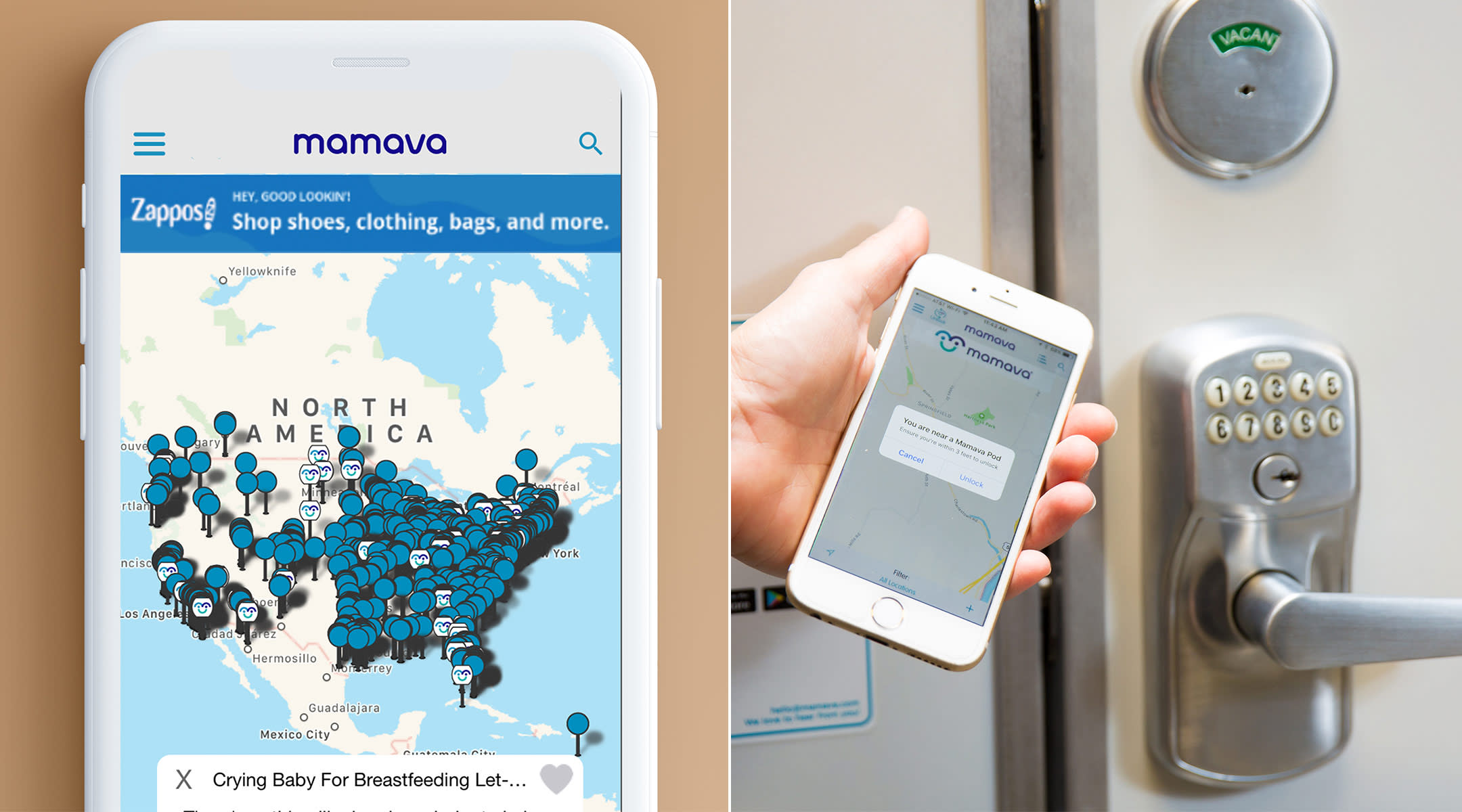 mamava releases mobile app that tells you where their breastfeeding pods are located.