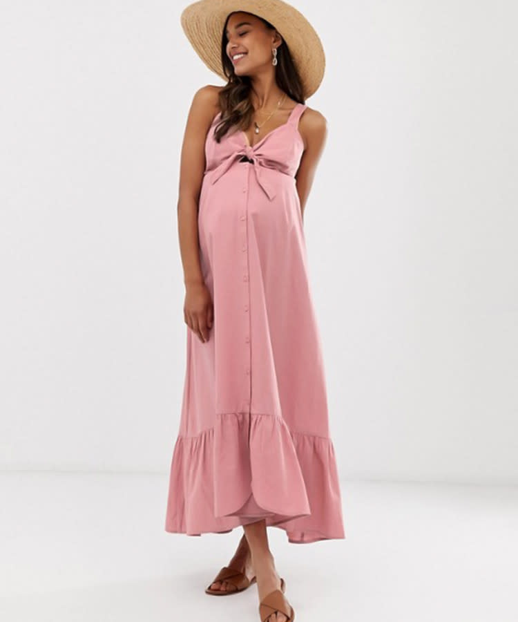 0c96c82461 summer-maternity-asos-front-button-pink-maxi-dress