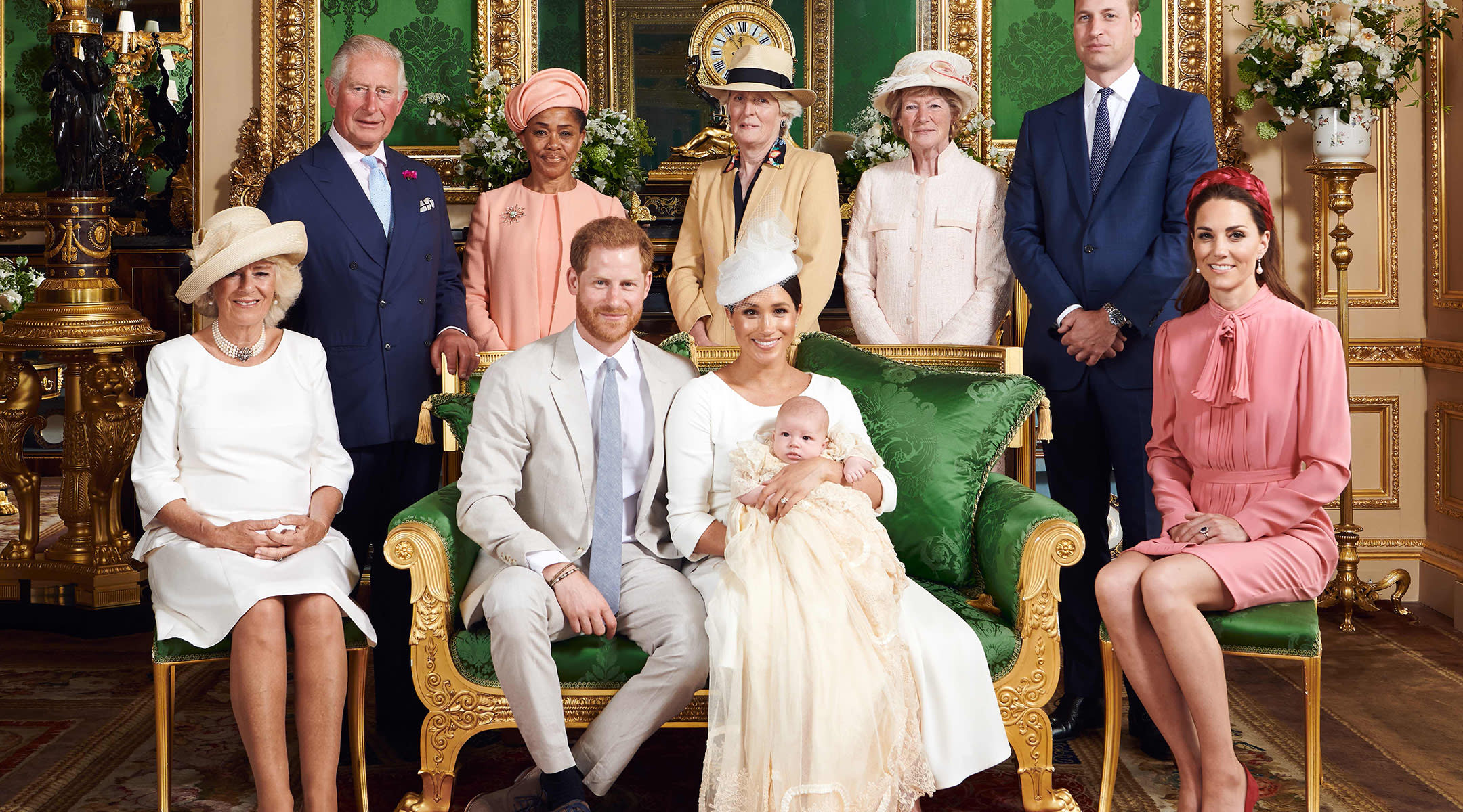 royal family poses for baby Archie's christening