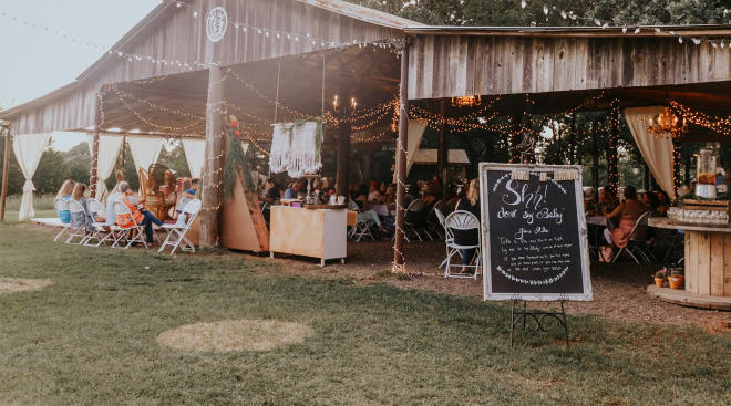 rustic boho baby shower venue