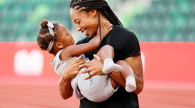 Allyson Felix holds her daughter, after day nine of the 2020 U.S. Olympic Track & Field Team Trials at Hayward Field.
